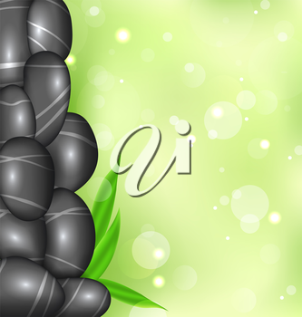 Illustration spa background with bamboo leaves and stones - vector