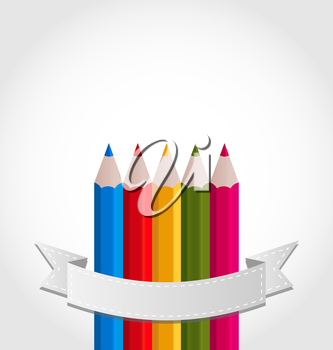 Illustration colorful pencils with ribbon, on white background - vector