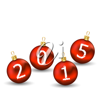 Illustration happy new year in glass ball on white background - vector