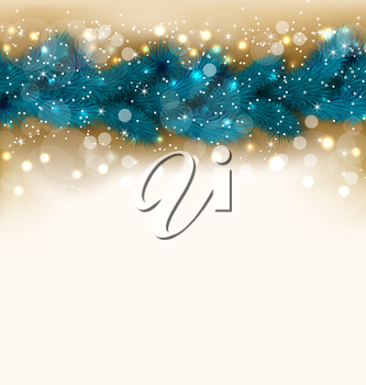 Illustration Christmas shimmering background with fir twigs, copy space for your text - vector