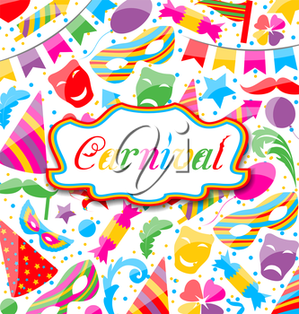 Illustration festive card with carnival and party colorful icons and objects - vector