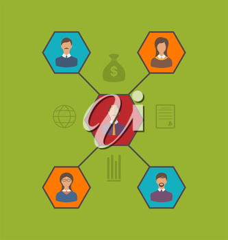 Illustration concept of leadership and team business people. Flat style icon - vector