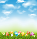 Illustration Easter natural landscape with traditional painted eggs in grass meadow, blue sky and clouds - vector