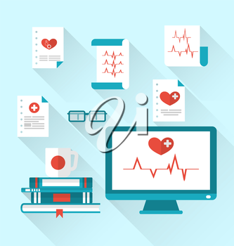 Illustration set modern flat medical icons with paper documents with electrocardiograms - vector
