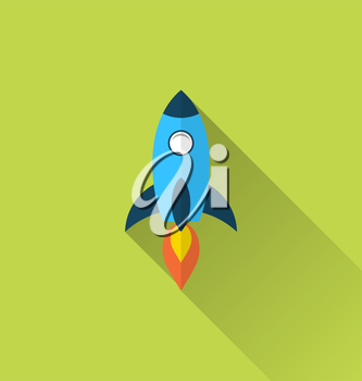Illustration flat icon of rocket with long shadow style - vector