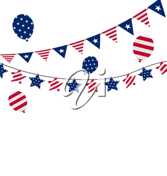 Illustration Bunting pennants for Independence Day USA, President Day, Washington Day, US Labor Day - Vector