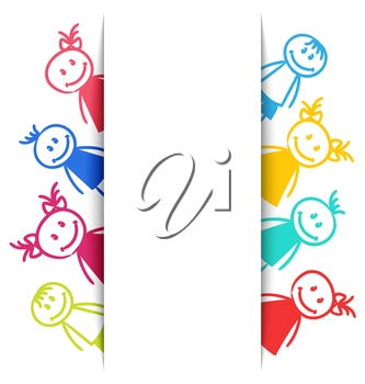 Illustration Hand-drawn Smiling Colorful Girls and Boys, Copy Space for Your Text - Vector