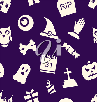 Illustration Halloween Seamless Pattern with Traditional Symbols - Vector