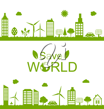 Illustration Concept Green Futuristic World, Green Houses, Solar Panels and Windmills - Vector