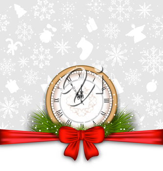 Illustration New Year Background with Clock, Fir Twigs and Bow Ribbon - Vector