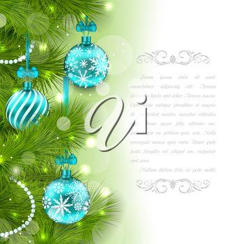 Illustration Christmas Glowing Card with Fir Twigs and Glass Balls - Vector
