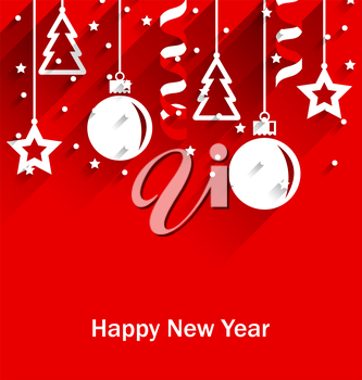 Illustration Happy New Year Greeting Card with Fir, Balls, Stars, Streamer, Trendy Flat Style with Long Shadows - Vector