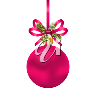 Illustration Christmas Pink Ball with Bow Ribbon and Fir Twigs, Isolated on White Background - Vector