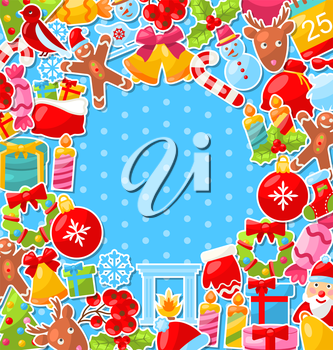 Illustration Merry Christmas Background with Traditional Colorful Objects - Vector