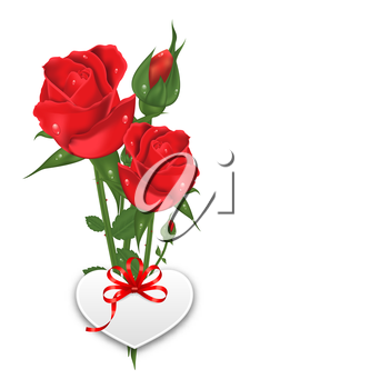 Illustration Bouquet Beautiful Flowers Roses with Paper Postcard for Happy Valentines Day, Isolated on White Background - Vector