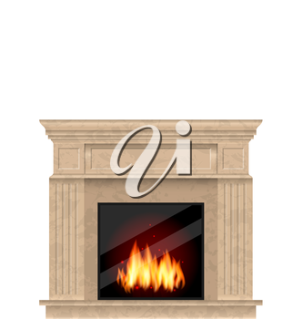 Illustration Realistic Marble Fireplace with Fire Isolated on White Background - Vector