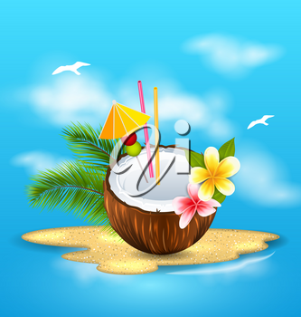Illustration Exotic Coconut Cocktail with Frangipani and Palm Leaves. Summer Background - Vector
