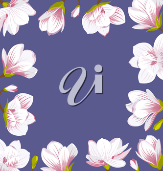 Illustration Vintage Border Made of Beautiful Magnolia Flowers. Cute Card, Place for Your Text - Vector