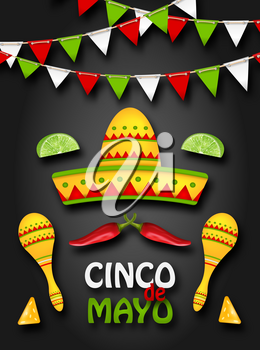 Holiday Background with Collection Mexican Colorful Symbols for Cinco de Mayo - Illustration Vector