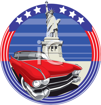 Royalty Free Clipart Image of a Vintage Car and the Statue of Liberty