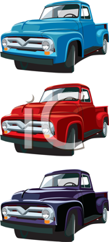 Royalty Free Clipart Image of Old Pickup Trucks