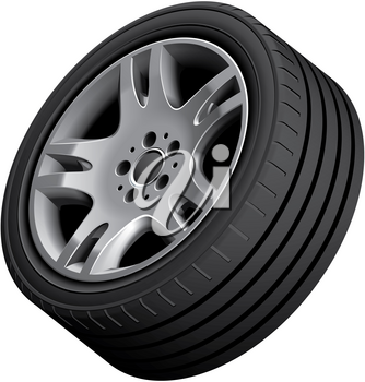 High quality vector illustration of aluminium alloy wheel, isolated on white background. File contains gradients, blends and transparency. No strokes. Easily edit: file is divided into logical groups.