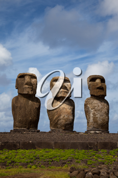 Easter Island Statues under blue sky