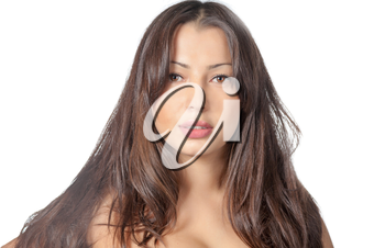 face and shoulders shot of the pretty brunette isolated on white background