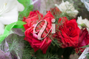 flowers bunch with red roses