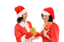Royalty Free Photo of Two Women in Santa Clause Outfits