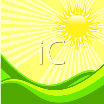 Royalty Free Clipart Image of an Illustration of Sun Shining on a Green Meadow