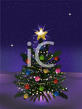Royalty Free Clipart Image of a Snowy Christmas Scene With a Decorated Tree