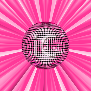Royalty Free Clipart Image of a Pink Disco Ball Background