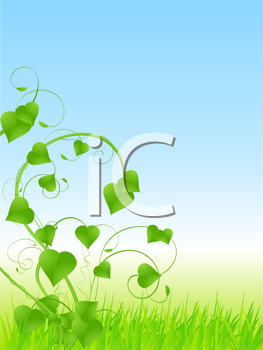 Royalty Free Clipart Image of a Green Vine in the Grass