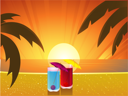 Royalty Free Clipart Image of Two Cocktails on a Tropical beach at sunset