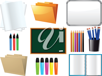 School, college and universtiy stationery items, note book, black board, and white board
