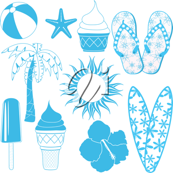 Set of blue summer design objects such as surf boards, flipflops, ice cream and palm trees