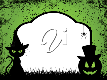 Grungy halloween background wih black cat and pumpkin in front of tomb stone