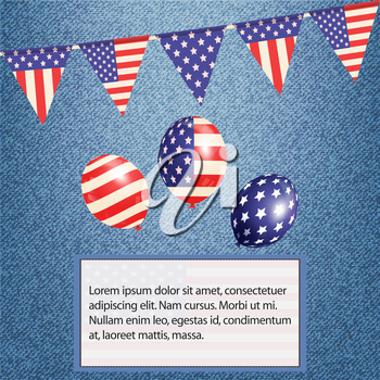 American Bunting Balloons and Flag with Sample Text on Denim Background