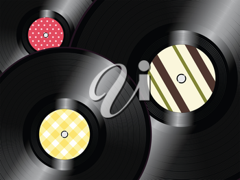 Vinyl Records with Vintage Inner Label Background