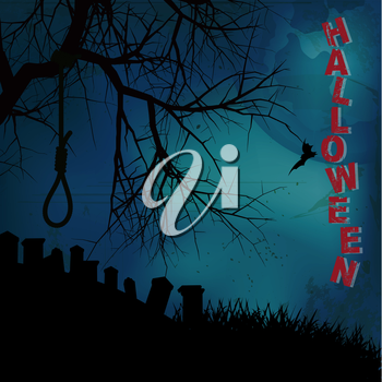 Halloween Background with Tree Hangman Noose Text and Graveyard