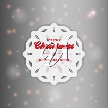 White Christmas Snowflake with Text Over Glowing Background