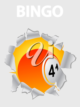 Orange And Yellow Bingo Lottery Ball Coming Out From A Ripped White Background With Bingo Decorative Text White On White