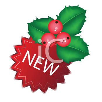 Royalty Free Clipart Image of Holly and Ivy and a New Tag