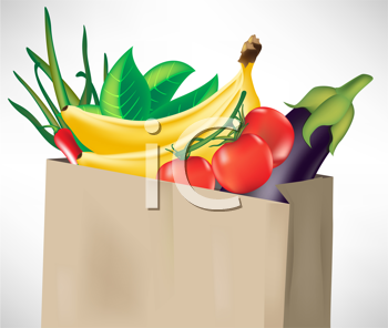 grocery bag with fruits and vegetables isolated