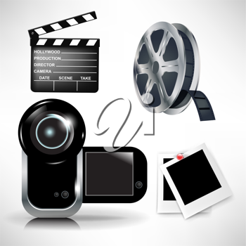 cinematography icons set: movie clapper and film tape with camera