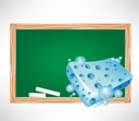 blue wet sponge and blackboard illustration