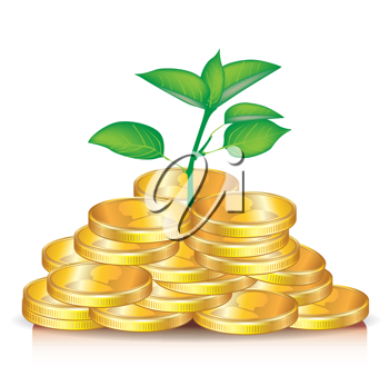 plant growing from pile of golden coins