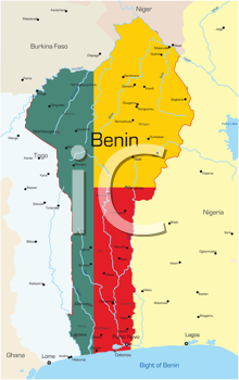 Royalty Free Clipart Image of a Map of Benin Coloured Like the Flag