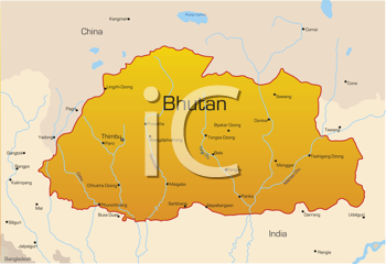 Royalty Free Clipart Image of a Map of Bhutan